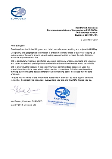 Greeting letter from EUROGEO, 2017